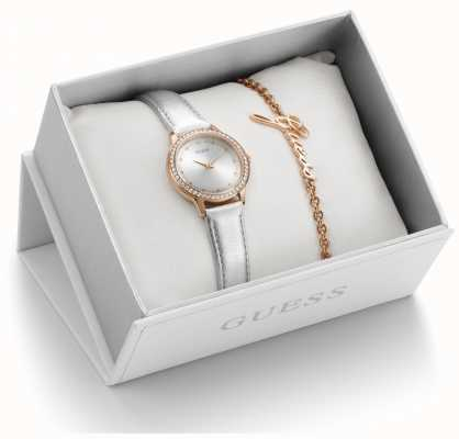 Guess Womens Gift Set Silver Leather Strap Rose Gold UBS82107-L