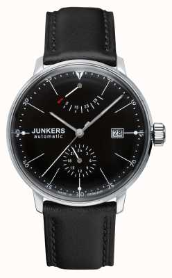 Junkers Mens Bauhaus Automatic Black Leather Strap Black Dial 6060-2