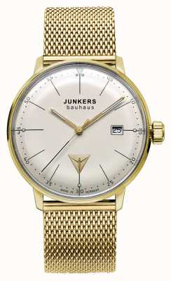 Junkers Mens Bauhaus Gold Tone Stainless Steel Mesh Beige Dial 6072M-5