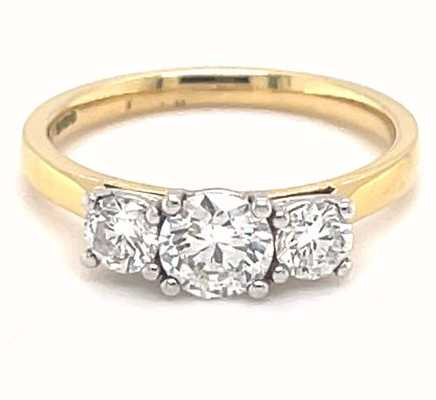18k Yellow Gold Platinum Head 1ct Diamond 3 Stone MX03-0379/100