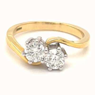 18k Yellow Gold Plat Head 2 Stone Twist 1ct Diamond J51889MX02-0019/100