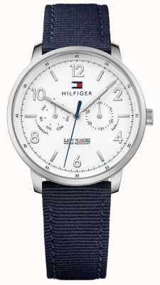Tommy Hilfiger Mens Will Blue Fabric Strap White Dial 1791358