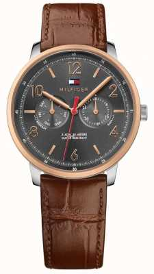 Tommy Hilfiger Mens Will Brown Leather Strap Grey 1791357