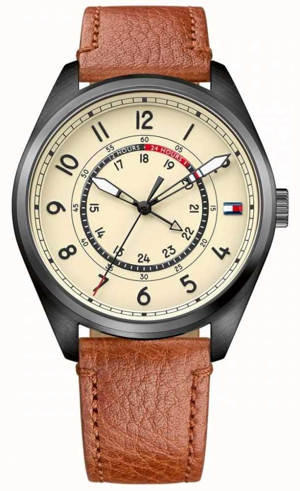 2000699f Tommy Hilfiger Mens Dylan Brown Leather Strap Cream Dial 1791372 ...