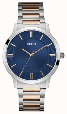 Guess Mens Escrow Two Tone Steel Blue Dial W0990G4