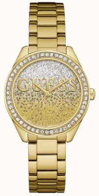Guess Womens Glitter Girl Gold Tone Steel W0987L2