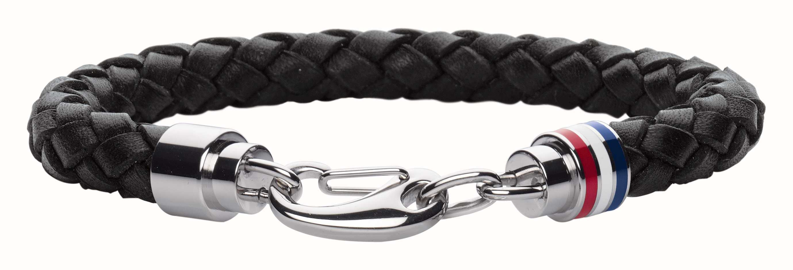 dff28621dc6be Tommy Hilfiger Jewellery Mens Black Leather Stainless Steel Bracelet