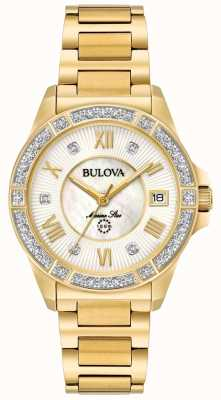 Bulova Womans Marine Star Gold Tone 98R235