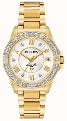 Bulova Womans Marine Star Diamond Gold Tone 98R235