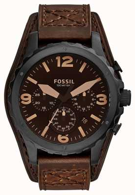 Fossil Mens Nate Chronograph Brown Leather JR1511