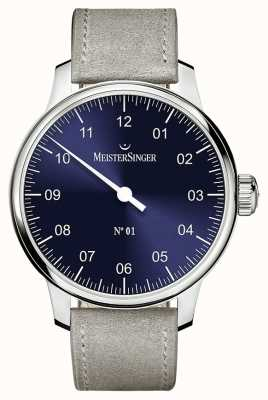 MeisterSinger Men's Classic No. 1 Hand Wound Sellita Sunburst Blue AM3308
