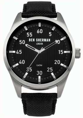 Ben Sherman Mens Black Leather Backed Strap Black Dial WB031B