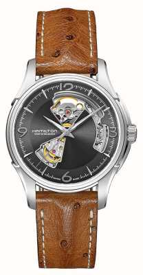 Hamilton Mens Jazzmaster Open Heart Automatic Leather H32565585