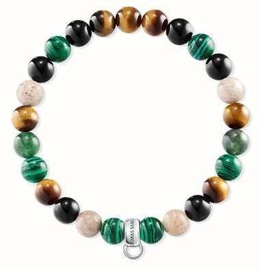 Thomas Sabo Brown Green Black Stone Charm Bracelet X0217-947-7-L16,5