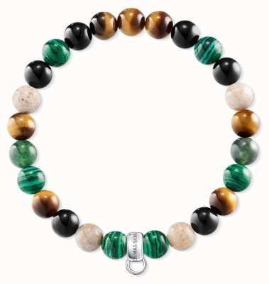 Thomas Sabo Brown Green Black Stone Charm Bracelet X0217-947-7-L17,5
