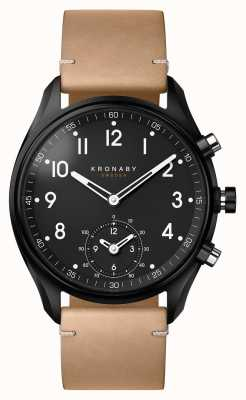 Kronaby 43mm APEX Bluetooth Black PVD Case/Beige Leather A1000-0730 S0730/1