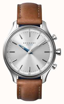 Kronaby 38mm SEKEL Stainless Brown Leather Strap Smartwatch A1000-0658