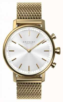 Kronaby 38mm CARAT Bluetooth Gold Mesh Strap Smartwatch A1000-0716