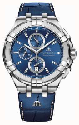 Maurice Lacroix Men's Aikon Blue Chronograph Blue Leather Strap AI1018-SS001-430-1