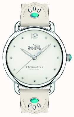 Coach Womans Delancey Watch White Leather Strap Turquoise Stones 14502702