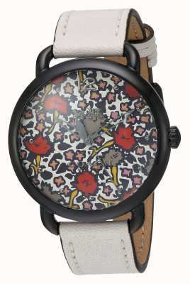 Coach Womans Delancy Watch White Leather Strap Patterned Dial 14502729