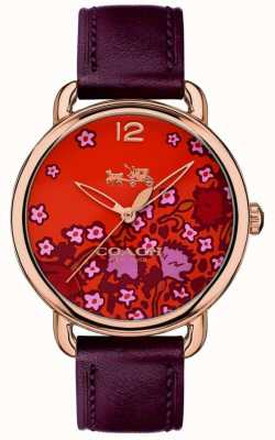 Coach Womans Delancey Watch Burgundy Leather Strap Patterned Dial 14502730
