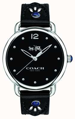 Coach Womans Delancey Watch Black Leather Strap Blue Stones 14502738