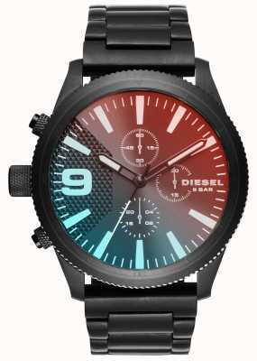 Diesel Gents Rasp Chrono Red/blue Black Ion Plated Watch DZ4447