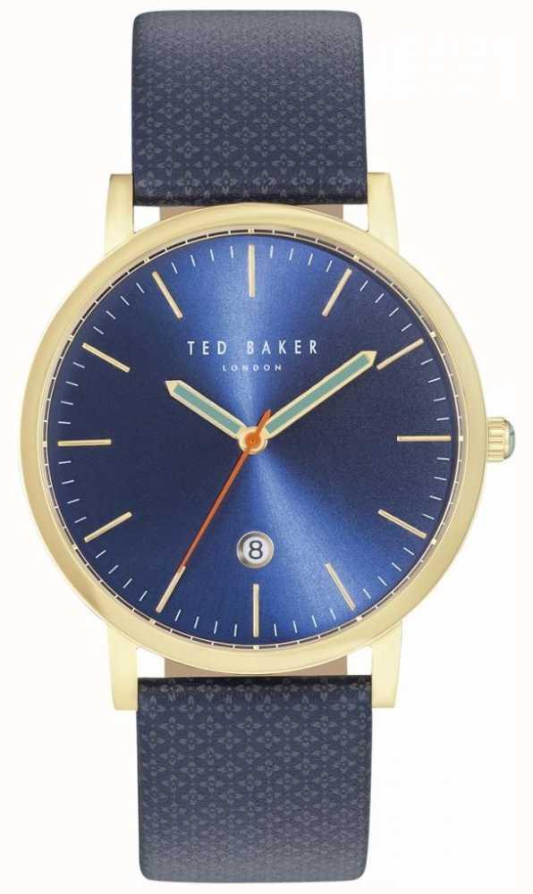 331d24d5187eb1 Ted Baker Mens Graham Patterned Blue Leather Strap TE10031494 ...