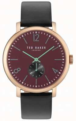 Ted Baker Mens Oliver 42mm Black Strap Rose Gold Case TE10031516