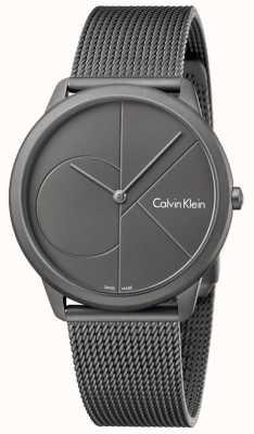 Calvin Klein Mens Minimal Grey Stainless Steel Mesh Bracelet K3M517P4