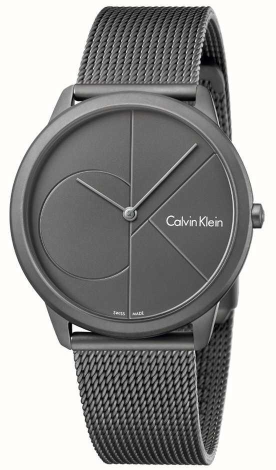 b74fcf35b65 Calvin Klein Mens Minimal Grey Stainless Steel Mesh Bracelet ...