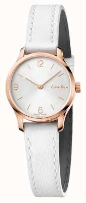Calvin Klein Womans Endless White Leather Strap White Dial Rose Gold K7V236L6