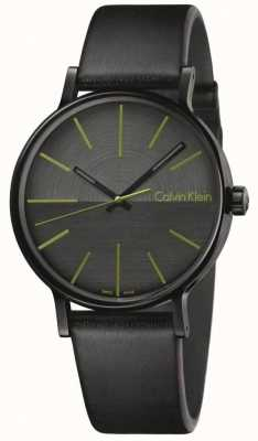 Calvin Klein Mens Boost Black Leather Green Indices K7Y214CL