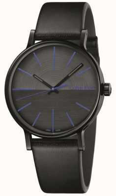Calvin Klein Mens Boost Black Leather Blue Indices K7Y214CZ