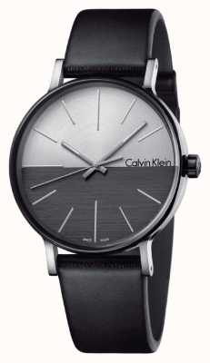 Calvin Klein Mens Boost Black Leather Two Tone Dial K7Y21CCX