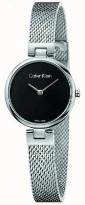 Calvin Klein Womans Authentic Stainless Steel Mesh Bracelet Black Dial K8G23121