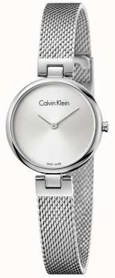 Calvin Klein Womans Authentic Stainless Steel Mesh Bracelet Silver Dial K8G23126