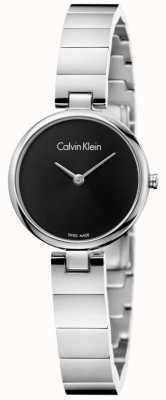 Calvin Klein Womans Authentic Stainless Steel Bracelet Black Dial K8G23141