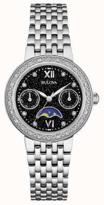 Bulova Womans Diamond Gallery Moonphase Stainless Steel Bracelet 96W210
