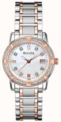 Bulova Womans Diamond Gallery Two Tone Stainless Steel Bracelet 98R199