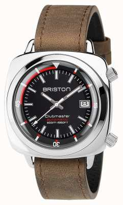 Briston Unisex Clubmaster Diver Brushed Steel Leather Auto Black 17642.PS.D.1.LVBR