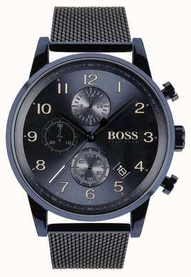 Hugo Boss Mens Navigator Blue Chronograph Mesh Metal Watch 1513538