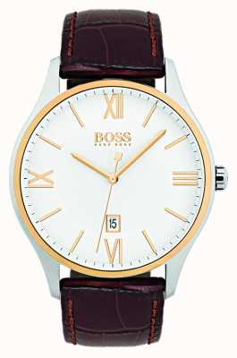 Hugo Boss Mens Governor Classic White Dial Brown Leather Strap Watch 1513486