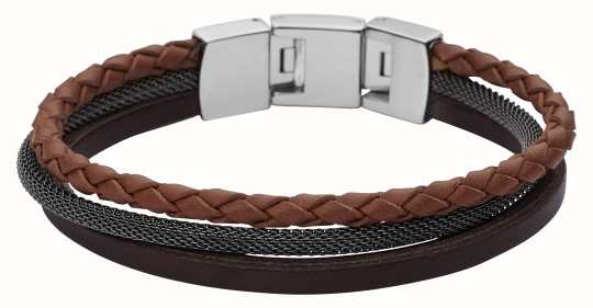 Fossil Mens Vintage Casual Triple Layer Leather Bracelet JF02213040