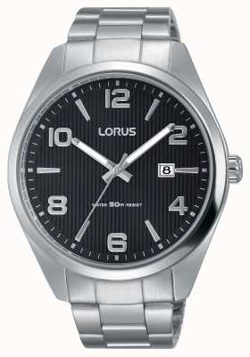 Lorus Mens Urban Dress Classic Steel Bracelet Black Dial RH959GX9