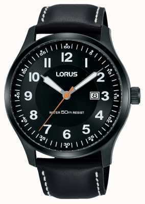Lorus Mens Urban Dress pvd black case/black Leather RH941HX9