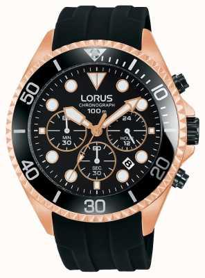 Lorus Mens Sport Chronograph Black Rose Gold Tone Case RT322GX9