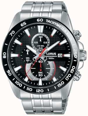 Lorus Mens Sport Chronograph Stainless Steel Bracelet Black Dial RM381DX9