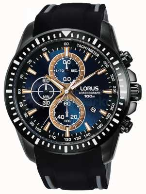 Lorus Mens Sport Chronograph Silicone Strap Blue Dial RM353DX9